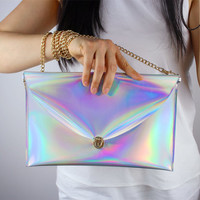 Holographic Medium Convertible Satchel Purse Bag Handbag Golden Chain Shoulder Strap Metallic Silver Vegan Patent Leather Handmade