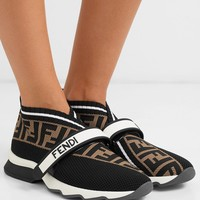 FENDI Rockoko logo-jacquard stretch-knit and mesh slip-on sneakers