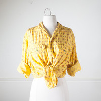 80s ETHNIC Print Button Down Shirt | Tie Front Shirt 80s Blouse 80s Top Boho Chic Festival Top Crop Top 80s Shirt Slouchy Top Yellow Shirt