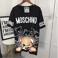 MOSCHINO super cute bear print men and women loose short-sleeved T-shirt F/A Black