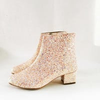 Edie Pale Pastels Glitter Heeled Ankle Boots (Handmade to Order)