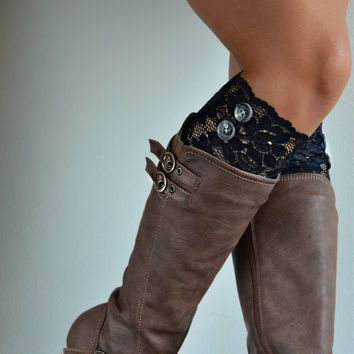 Black floral Lace boot cuffs with gray buttons