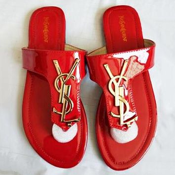 YSL Yves Saint Laurent Summer Hot Sale Women Casual Sandal Slippers Shoes Red