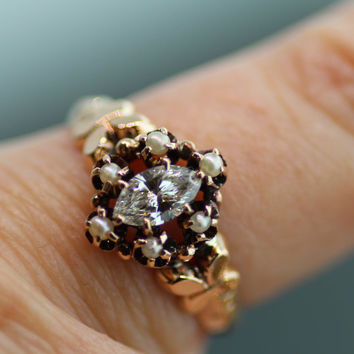 Vintage Diamond and Pearl Ring- 14k Rose Gold