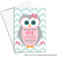 Baby girl first birthday invitation | Owl birthday party invites for girls | pink and mint | printable or printed - WLP00311