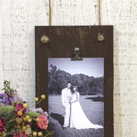 Wooden Clip Picture Frame Sign - Rustic / Vintage - Wedding / Home Decor
