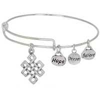 Expandable Bangle Bracelet Stainless Steel  Endless Knot Charm with Hope Dream Believe