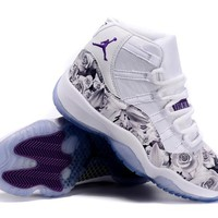 "Air Jordan 11   ""Flowers"" Purple Basketball Sneaker"