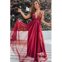 Wine Tulle Maxi Dress with Sequin Top