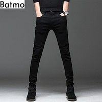 Batmo new arrival high quality casual slim elastic black jeans men ,men's pencil pants ,skinny jeans men 2108