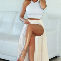 White two piece sleeveless transparent dress