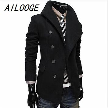 AILOOGE Men's Wool Coat Characteristic Design of Oblique Single-row Clasp Long Male Coat 2017 Winter Fashion Slim Mens Outwear