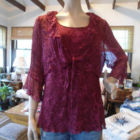Womans Plus Size 18/20 Boho Hippie Blouse with Bell Sleeves Boho/Hippie Vintage Style