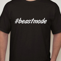 Mens Black Tshirt. #beastMode. Hashtag tshirt for men.beast mode.workout tee.fitness tee.hashtag.mens t-shirt.mens clothing.beast.