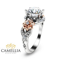 Diamond Engagement Ring 14K White Gold 2ct. diamond Engagement Ring Halo Engagement Ring White Gold Engagement Ring
