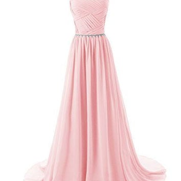 2015 Evening Dresses A Line Sleeveless Floor length Dress star Chiffon Zipper Up dress Long Bridesmaid Dress Beading Ball Gown-pink 142214124 SD184