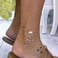 Trendy Simple Style Rhinestone Star Anklet Hot Beach Barefoot Jewelry Gold Elephant Leg Bracelet Set Bohemian Jewelry