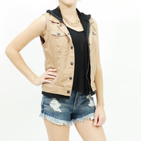 Hooded button up woven twill vest Khaki