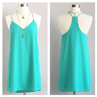 A Little Aqua Tank Dress