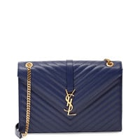 Monogramme Matelasse Shoulder Bag, Navy - Saint Laurent