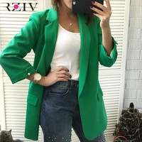 RZIV 2018 Autumn coat women blazers and jackets solid color blazers & suits leisure suit beaded decoration long section coat