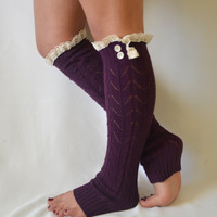 leg warmers- knit purple leg warmer with lace trim and buttons chunky leg warmer lace leg warmer boot socks boot cuffs christmas gifts