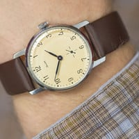 Classic men's wristwatch Soviet minimalist watch round men's accessory mint condition premium leather strap new