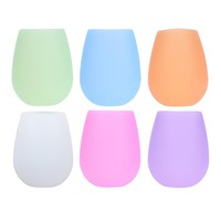 Anti-slip Portable Cute Silicone Cup Red Wine Glass Travel Cocktail Party Water Beer Tee Drinkware Mugs Candy Color