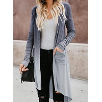 Gray Ombre Button Down Pocketed High Low Cardigan