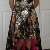 Made-To-Order Camo Hi / Lo A-line Dress with contrast lining: Prom, Homecoming, Wedding, Bridesmaid
