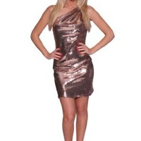 Beautifly Women's One-shoulder Bronze Sequins Mini Golden Cocktail Dress