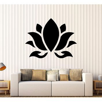 Vinyl Wall Decal Lotus Flower Buddhism Hinduism Yoga Stickers Unique Gift (394ig)