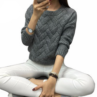 Women Fashion 2016 spring sweaters basic casual knitting winter Pullover