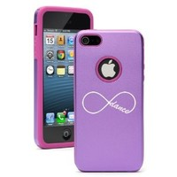 Apple iPhone 5 5S Purple 5D4236 Aluminum & Silicone Case Cover Infinite Infinity Dance Forever