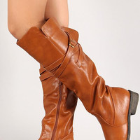 Leatherette Strappy Knee High Riding Boot Color: Brown, Size: 6.5