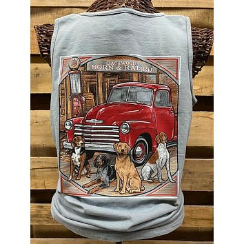 Backwoods Born & Raised Dog Truck Comfort Colors Unisex Bright T Shirt Tank Top