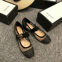 """""""Gucci"""" Temperament Retro Fashion Polka Dots Perspective Gauze Mary Jane Shoes Women Middle Heels Shoes"""