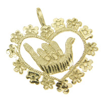 14K YELLOW GOLD HAWAIIAN DIAMOND CUT SHAKA HANG LOOSE PLUMERIA LEI HEART PENDANT