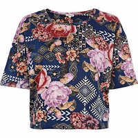 Navy floral tapestry print cropped t-shirt