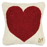 Have a Heart Hooked Wool Pillow - 14""