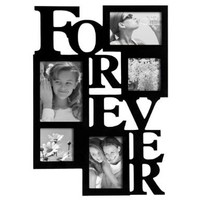 """ADECO PF0001-B 5-Opening Black Wooden Wall Hanging Collage Photo Picture Frames - Holds 4x4 4x6 5x7 Inch Photos,Saying """"FOREVER"""",Home Decor Wall Art,Best Gift:Amazon:Home & Kitchen"""