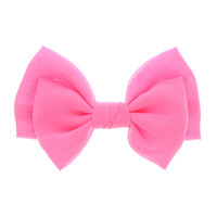Large Neon Pink Bow Hair Clip