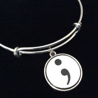 Semicolon Expandable Charm Bracelet Adjustable Silver Wire Bangle Inspirational Meaningful Trendy