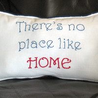 Small Americana Throw Pillow, Home Decor, Americana Decor, There's No Place Like Home, Red White and Blue, American Flag, Patriotic