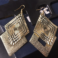 Hot sale multi-layered hollow earrings ladies wild scrub vintage jewelry (With Thanksgiving&Christmas Gift Box)= 1748265732