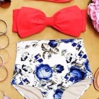 Forget-Me-Not High Waist Vintage Inspired Bikini - A fierce lady is one who leaves a lasting impression !