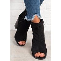 Pepper Peep Toe Booties (Black)