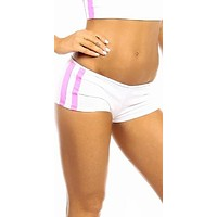 Sexy Neon Trim Balance Work Out Triple Stripe Fitness Full Coverage Shorts - White/Hot Pink