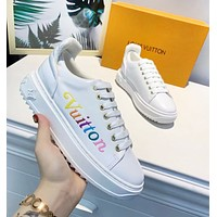 LV Louis Vuitton New fashion multicolor letter print high quality shoes women White