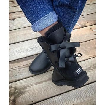 UGG Fashion Winter Women Man Cute Bowknot Flat Warm Snow Ankle Boots Shoes-1